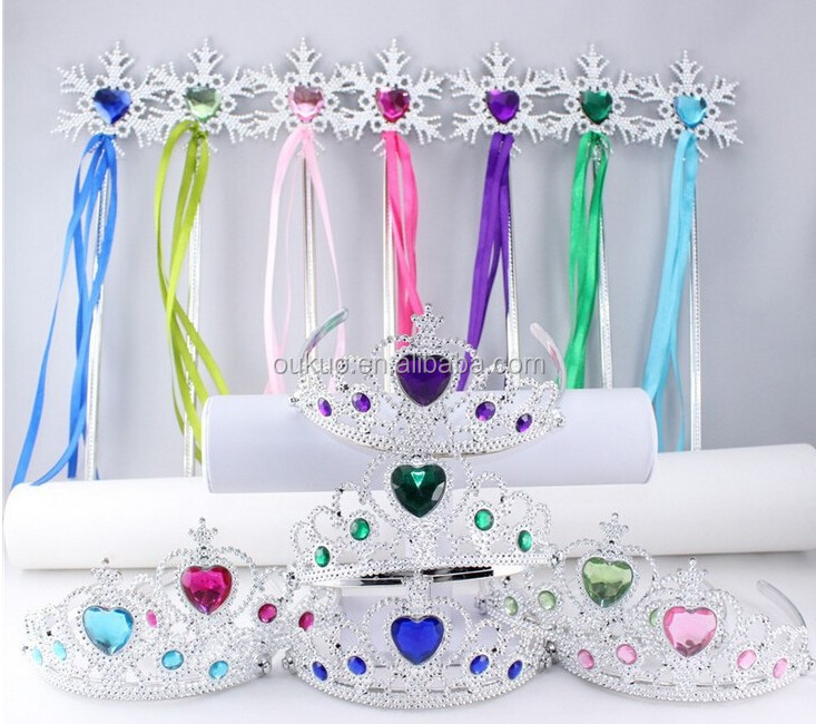 Party Birthday Princess Holiday Plastic Crown and Magic wand