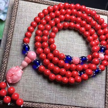 6mm Natural Cinnabar Prayer Beads with Pisces Shape Tridacna Buddha bead Bracelet vintage Necklace for Women and men