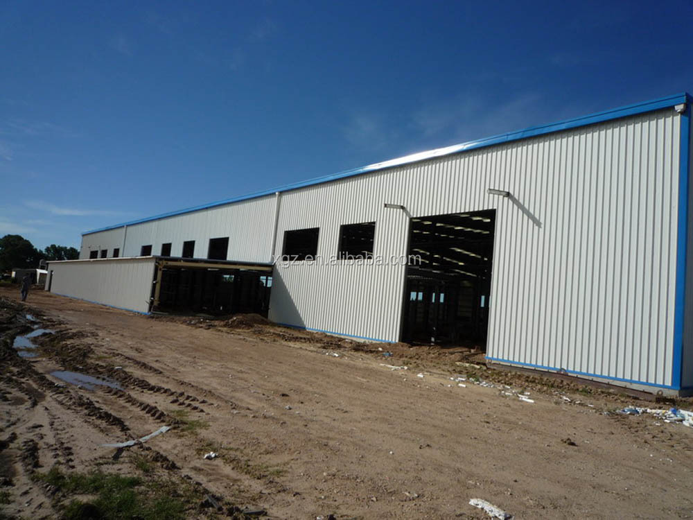 Steel structural dairy farm shed