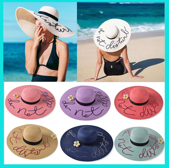 Personalized Logo Brand Natural straw Woven Paper Straw Hats Wide Brim Beach Flooy Straw Hats