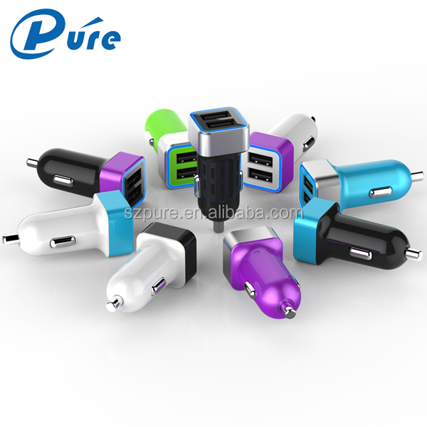 Hottest selling colorful dual USB car charger 2.4A/3.1A/4.8A output for iPhoneSamsungTablet ,promotional double 2 USB car cha