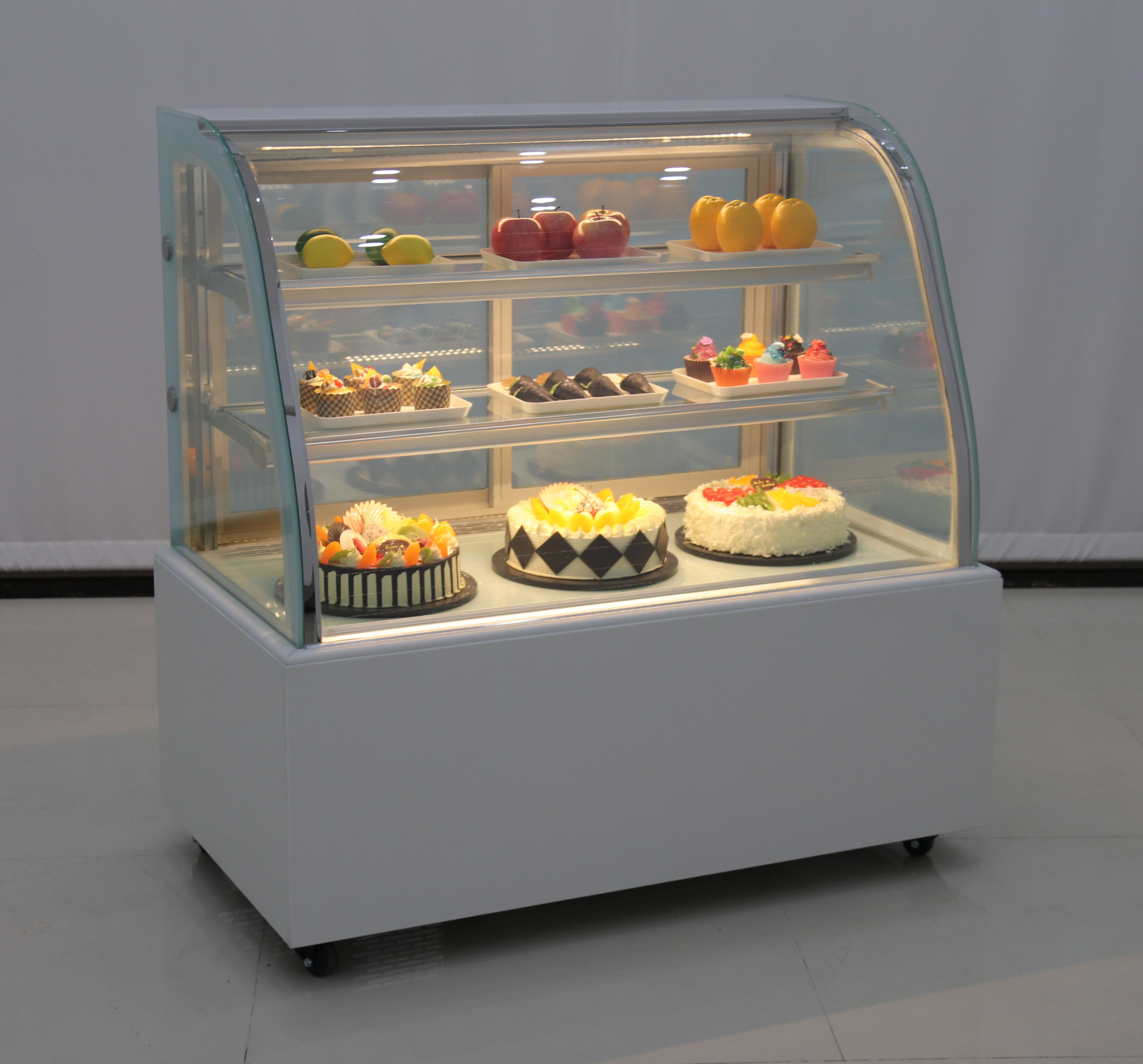 Supermarket air cooling Counter top cake display refrigerator chiller