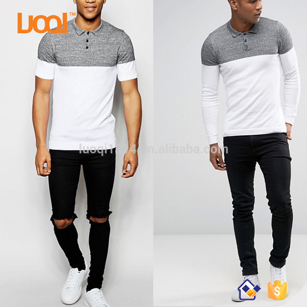 Luoqi Hot Sales 95% Cotton 5% Spandex Pique Grey/White Short/Long Sleeves Custom Men Color Combination Collar Design Polo Shirts