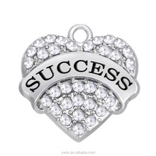 Engraved Inspired Word Success Heart Silver Plated Pave Pink Blue Clear Rhinestone Charm Pendant