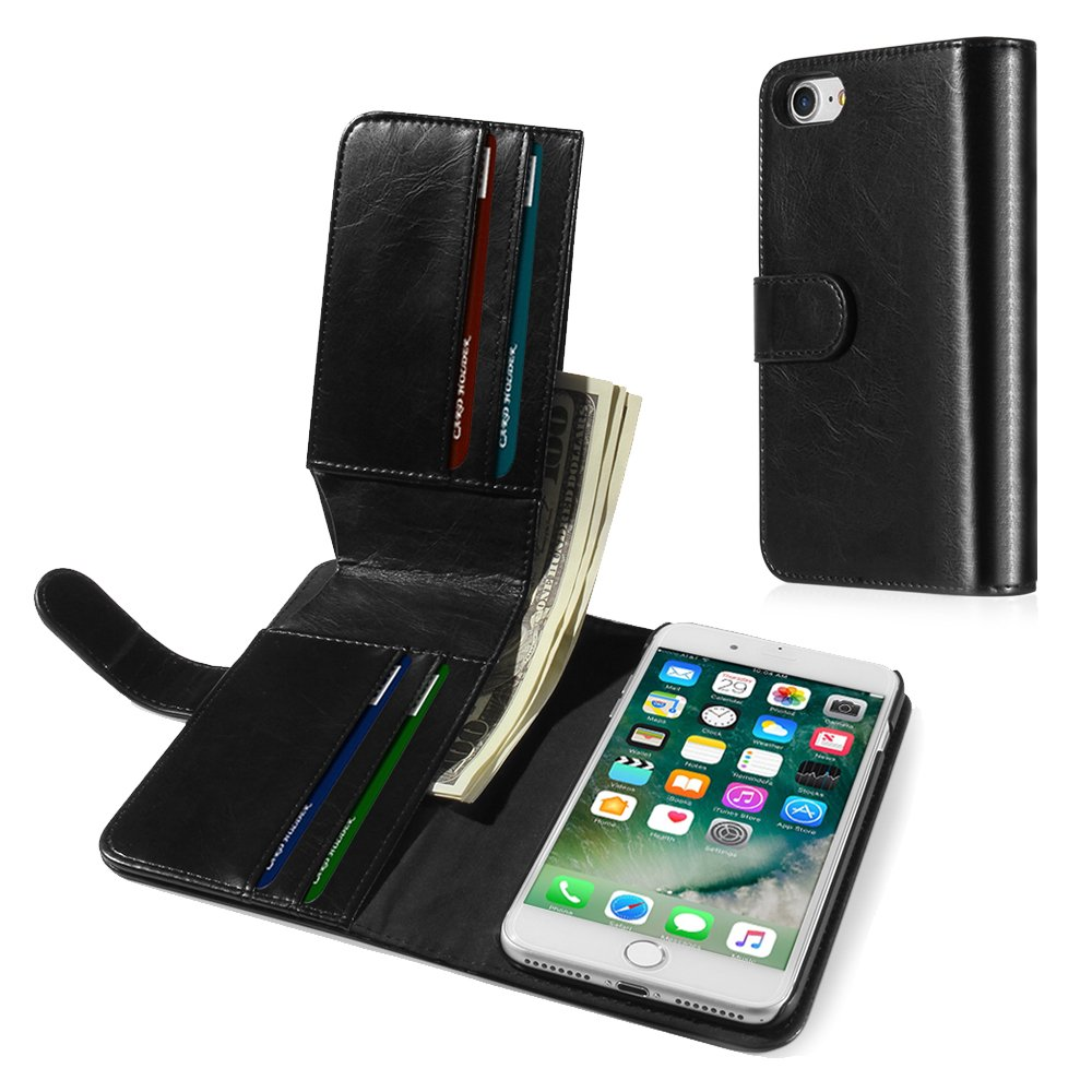 """TNP iPhone 7 Wallet Phone Case - Synthetic Leather Folio Flip Cover with Magnetic Snap Closure, Hard Back, ID Credit Card Slots and Cash Compartment Money Pocket for Apple iPhone 7 4.7"""" Black"""
