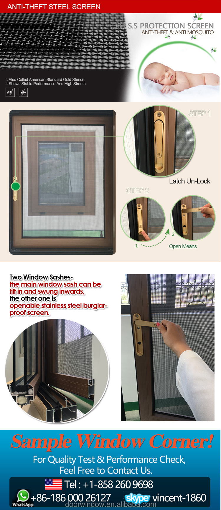 Boston wood grain burglar proof double glazed aluminum casement window as2047