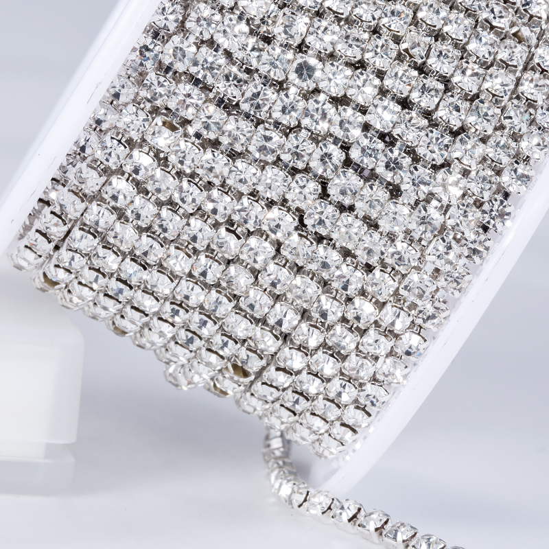 Clear Faceted 3D Rhinestone 3mm ss12 Crystal Garment Accessories Rhinestone Chain for Garment Decorations