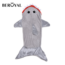 INS Hot Baby holding Baby Children mermaid tail blanket Thick Flannel shark blanket