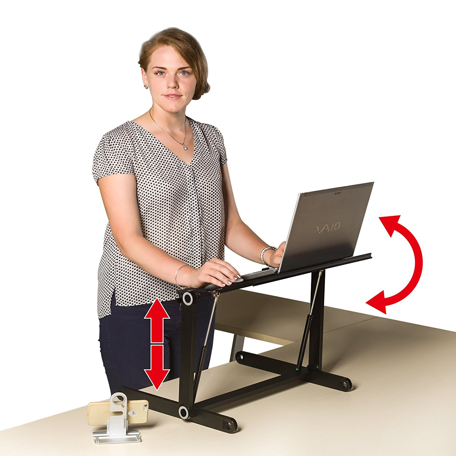 New Adjustable Standing Desk adjustable Stand up Desk folding aluminium computer desk Adjust Monitor Stand