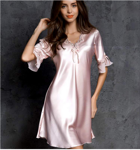 Ultra-thin Silk Pajamas Sexy NightDress Womens Nightgown Large Size M,XL,XXL Lingerie loose Home Dress High-end Lingerie