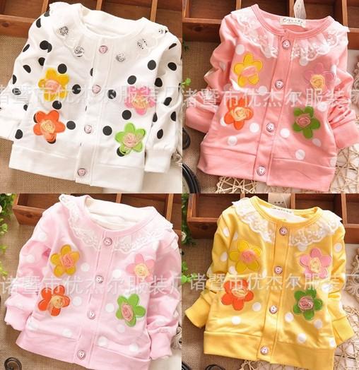 Высокое качество горячая распродажа ребенок дети дети девушки цветочные шнурка цветка кардиганы рубашки футболки с длинным рукавом бесплатная доставка