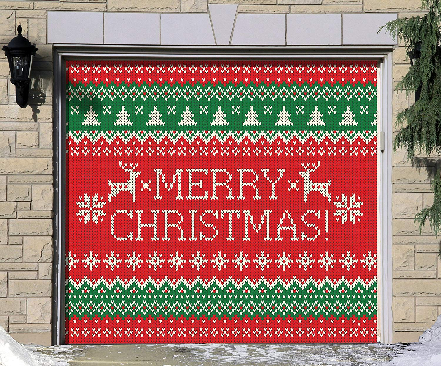 Victory Corps Outdoor Christmas Holiday Garage Door Banner Cover Mural Décoration - Ugly Christmas Sweater Merry Christmas - Outdoor Christmas Holiday Garage Door Banner Décor Sign 7'x8'