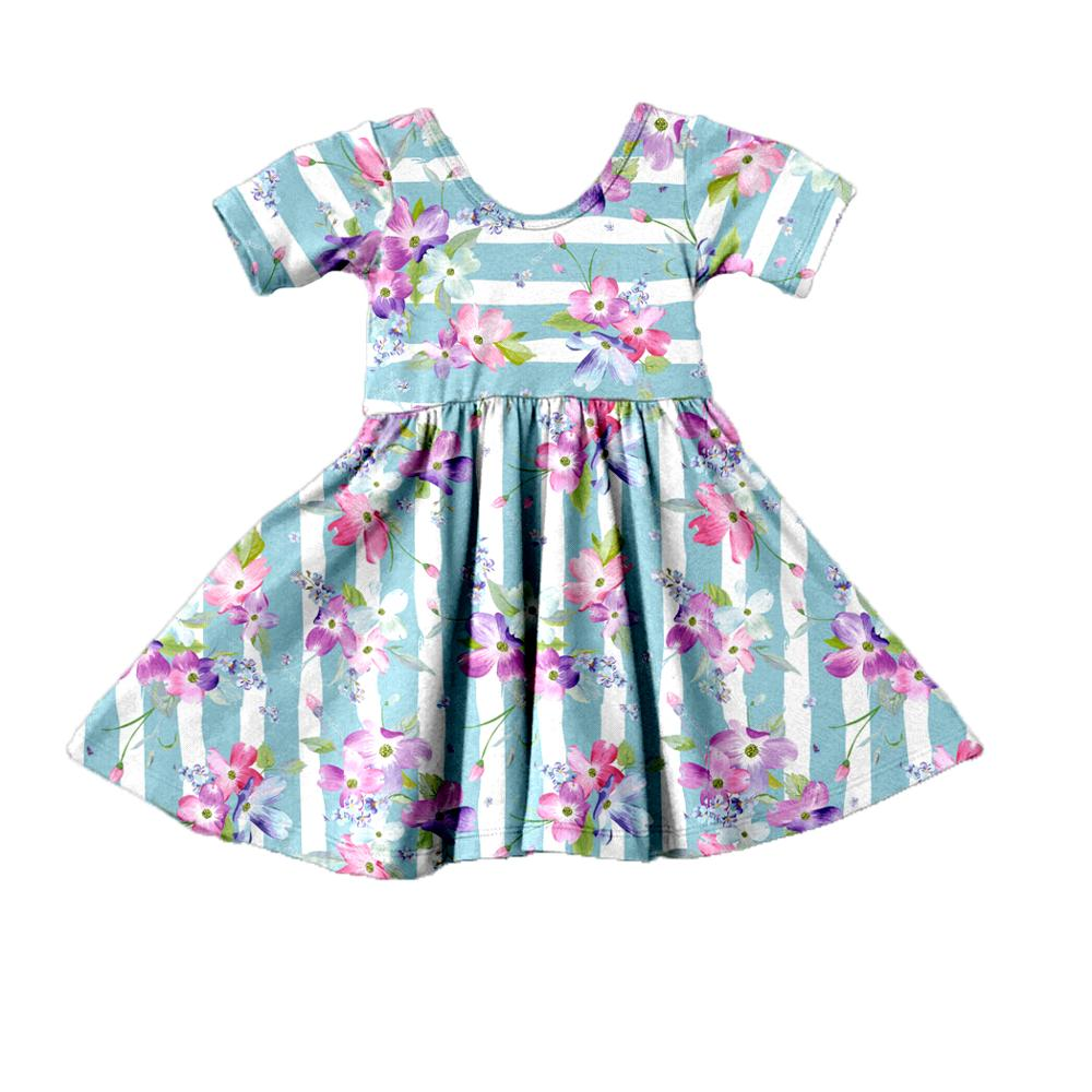 Ready To Ship Girls Summer Stripe <strong>Vintage</strong> <strong>Inspired</strong> Flower Printing <strong>Dresses</strong> for Baby Sister Clothes
