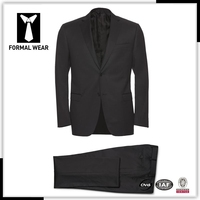 2015 New Arriving High quality 100% wool black two button notch lapel custom suits manufacturers
