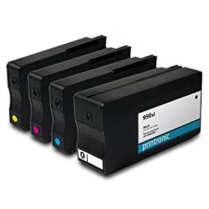 Printronic Remanufactured HP 950xl CN045AN HP 951xl CN046AN CN047AN CN048AN 1 Black 1 Cyan 1 Magenta 1 Yellow for OfficeJet Pro 251dw OfficeJet Pro 276dw OfficeJetPro 8100 OfficeJetPro 8600 OfficeJet Pro 8600 Plus OfficeJet Pro 8600 Premium Ink Cartridges for Inkjet Printers (4 Pack)