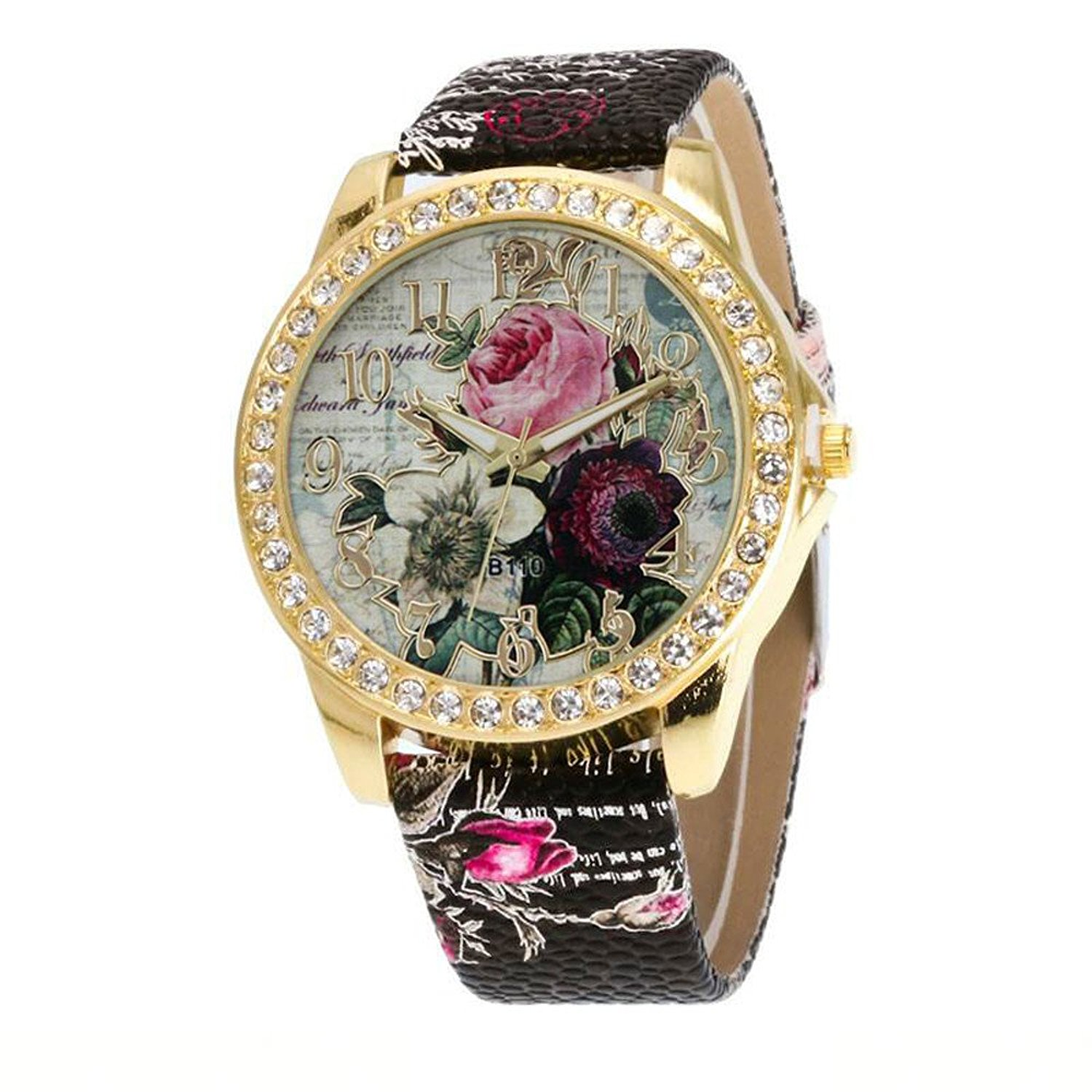 Women Quzrtz Watches On Sale,POTO Quartz Women Watches Rose Patter Luxury Casual Stainless Steel Alloy Round Case Wristwatch Womens Leather Analog Quartz Wrist Watches For Ladies Clearance