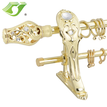 fashion tension metal curtain pole set/ diamond beads curtain finial curtain rod