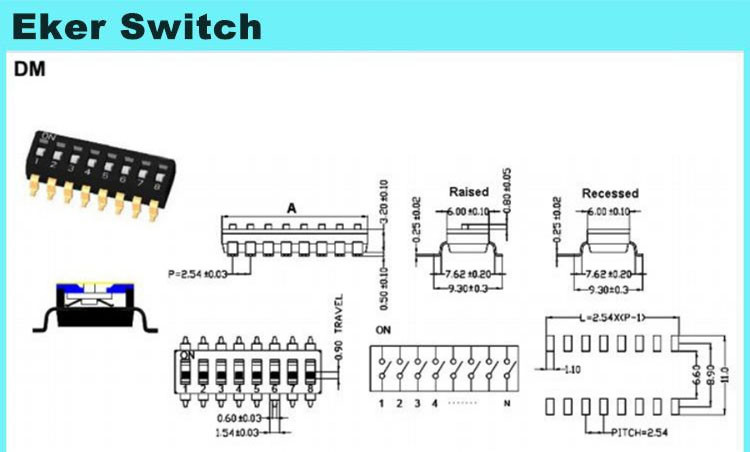 Electrical Component Smt Ic 2 54mm Pitch Spst Dip Switch