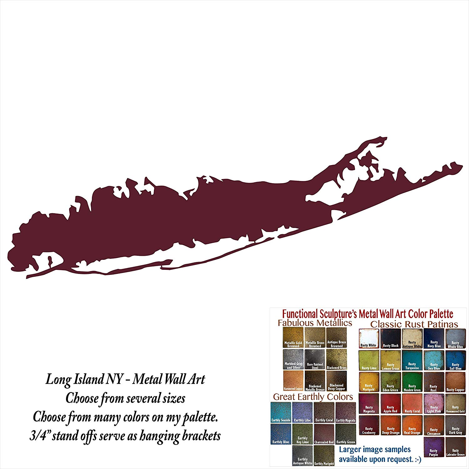 "Long Island, NY map - metal wall art - choose 7.5""x24"" or 14.4""x46"" wide as hung - Handmade - Choose your patina color"