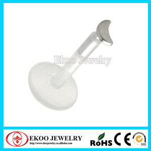 Bio Plastic Small Moon Labret Stud Cartilage Tragus Jewlery Lip Ring