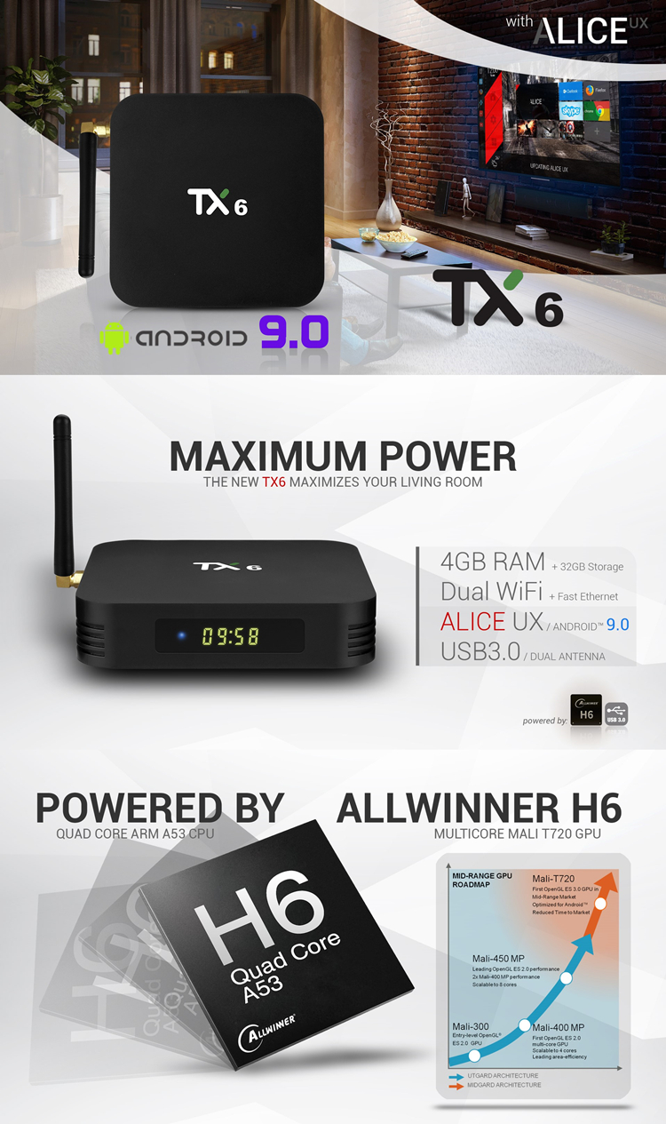 satellite tv android 9.0 live quad core android smart BT TANIX TX6 H6 4G 32G tv box