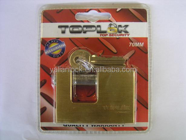 Double blister packing copy brass rectangle lock