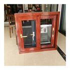 Aluminium glass casement windows based on anti-scratch italian skin feel wood grain color india villa windows