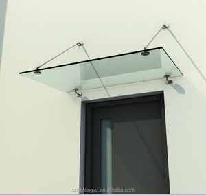 Frameless glass canopy with stainless steel hardwares/fronted outdoor canopy /glass door canopy fittings glass rain awning