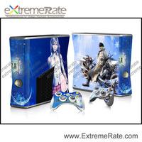 For Xbox 360 Slim Vinyl Skin Sticker One Piece + 2 New Controller ...