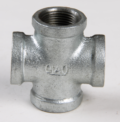 Malleable Iron Galvanised Pipe Fittings four way CrossTee pipe fitting