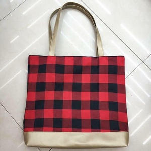 Monogram buffalo plaid tote bag Christmas new arrival fashion women handbags