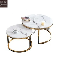 coffee table marble top gold stainless steel modern round table living room furniture coffee table set