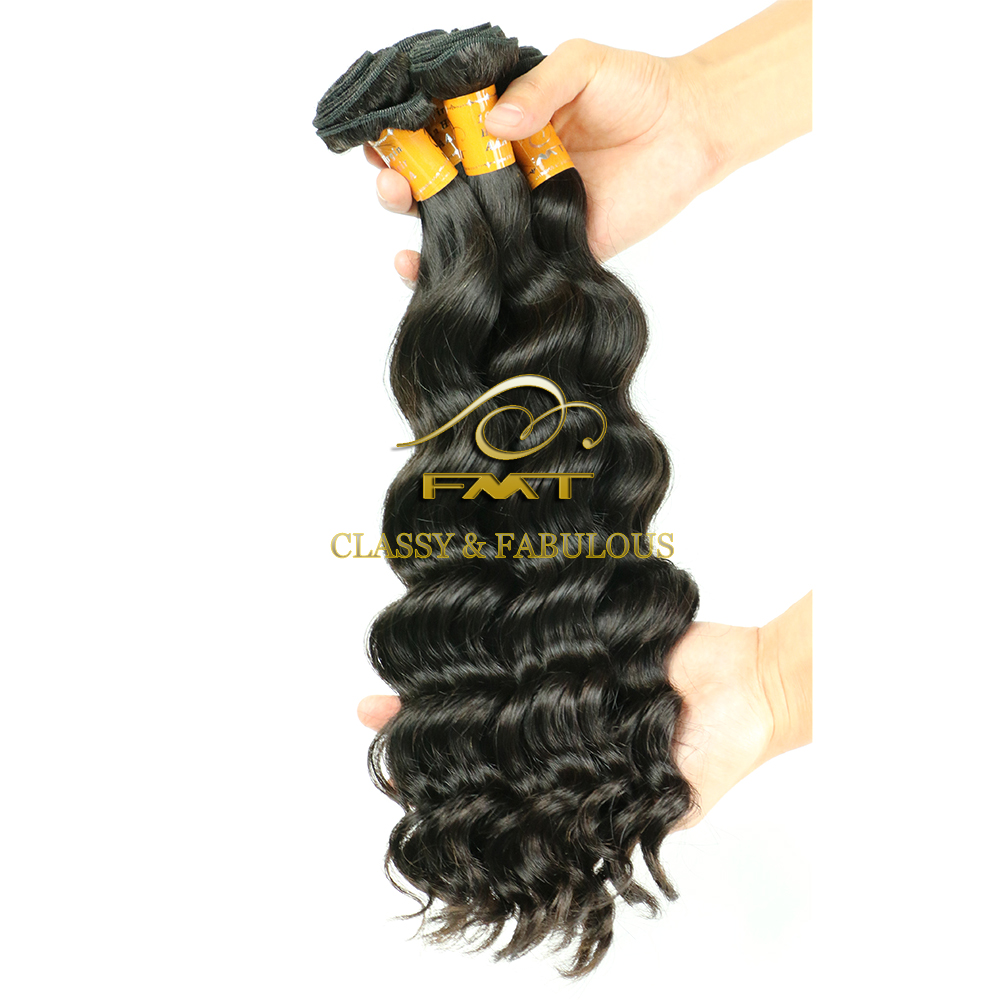 FMT Best Hair Weaving Hair Extension Type and Deep Wave Style braids on weft
