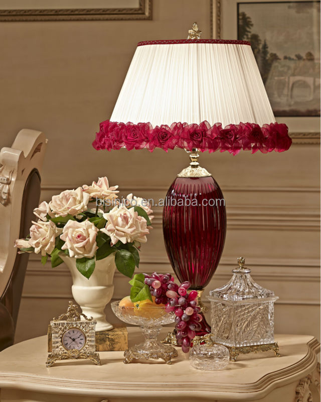 Distinguished Crystal U0026 Bronze Decoration Pieces, Intoxicating Wine Red Crystal  Table Lamp/Clock/