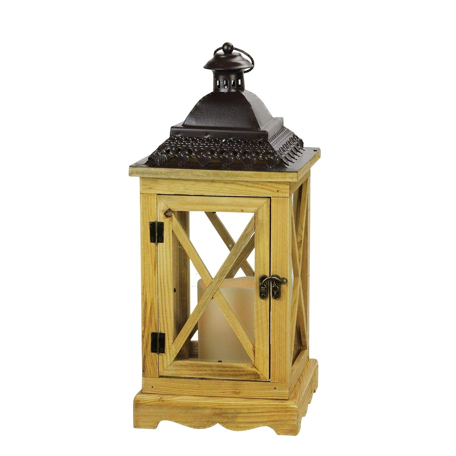 """Gerson 17.5"""" Rustic Wooden Lantern with Brown Metal Top and LED Flameless Pillar Candle with Timer"""