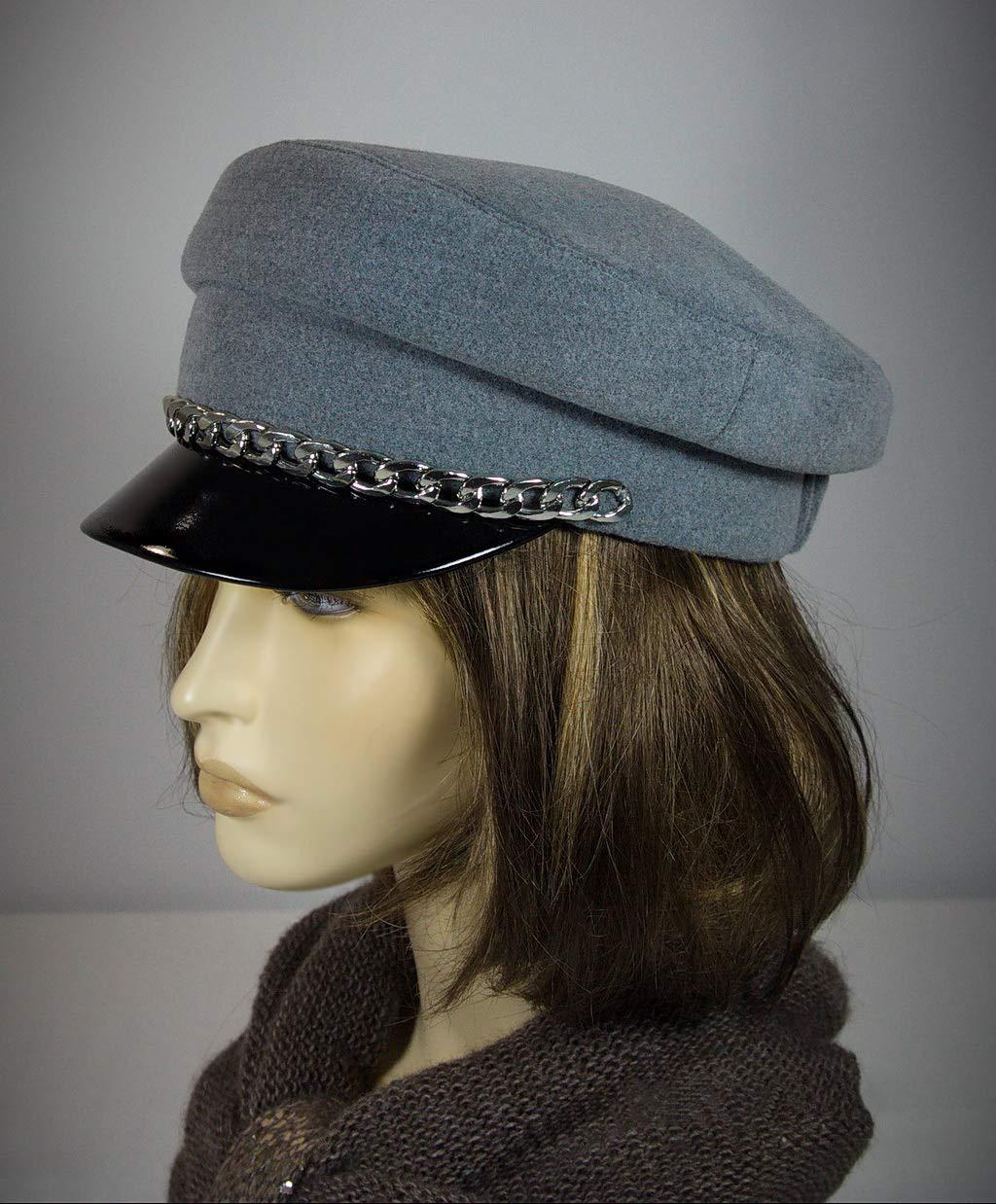 Breton hat, cap with strap, Mariner breton cap, baker cap, captains hat, breton style, baker cap, grey breton hat, cape breton hat, cap.