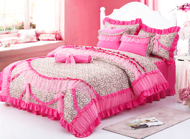 Red Leopard Girls Ruffled Frilly Tulle Cotton Full Queen
