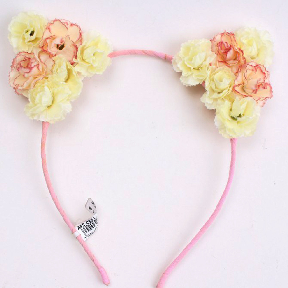 New Design Cute Hair Band Cat Ears pink Flower Headband For Girls