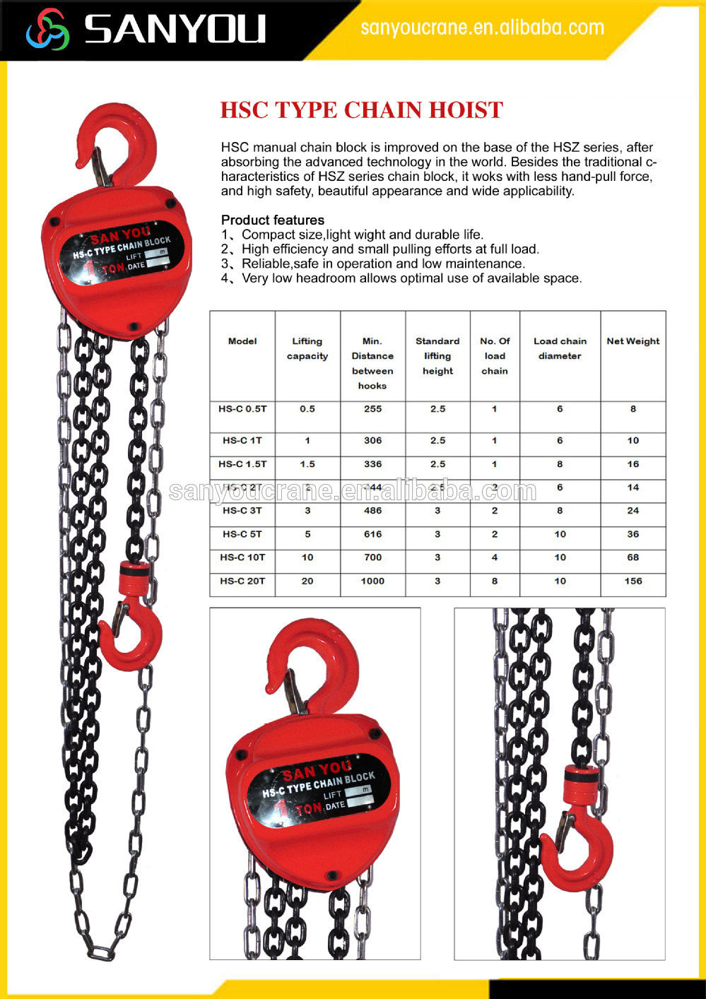 Pawl Ratchet 2 Ton Chain Block With Conveyor Chains Buy