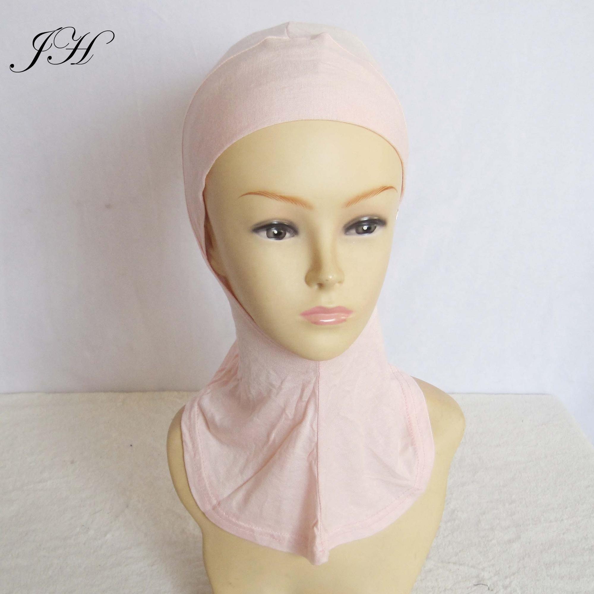 2019 sıcak satış moda yumuşak düz pamuklu jarse tam kapak Ninja başörtüsü altında eşarp bayan kaput şapkalar islam iç kap
