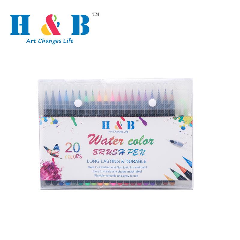20 pz pennello penna acquerello in scatola di acetato con tab