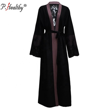 fashion design muslim women black lace ruffle long abaya dress with belt