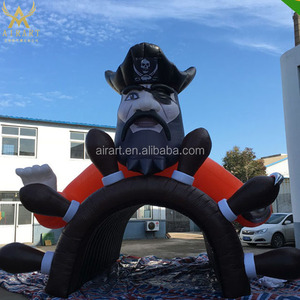 giant inflatable pirate ship slide, outdoor pirate boat combo for sale