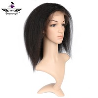 100 remy human hair non synthetic kinky straight lace front wigs lace front human hair wig with baby hair