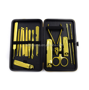 Various deluxe 15pcs PU manicure set luxury gold color costly binding pedicure set