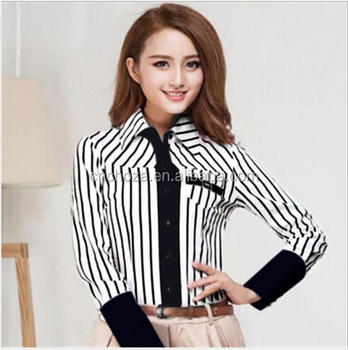 5e3f28e3d Z10906A 2016 moda de estilo coreano señoras de manga larga ajustado blusa a  rayas camisa mujeres