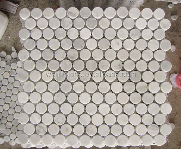 3 4 Bianco Carrara White Marble Stone Mosaic For Wall Floor Bathroom Kitchen Penny Round Tile