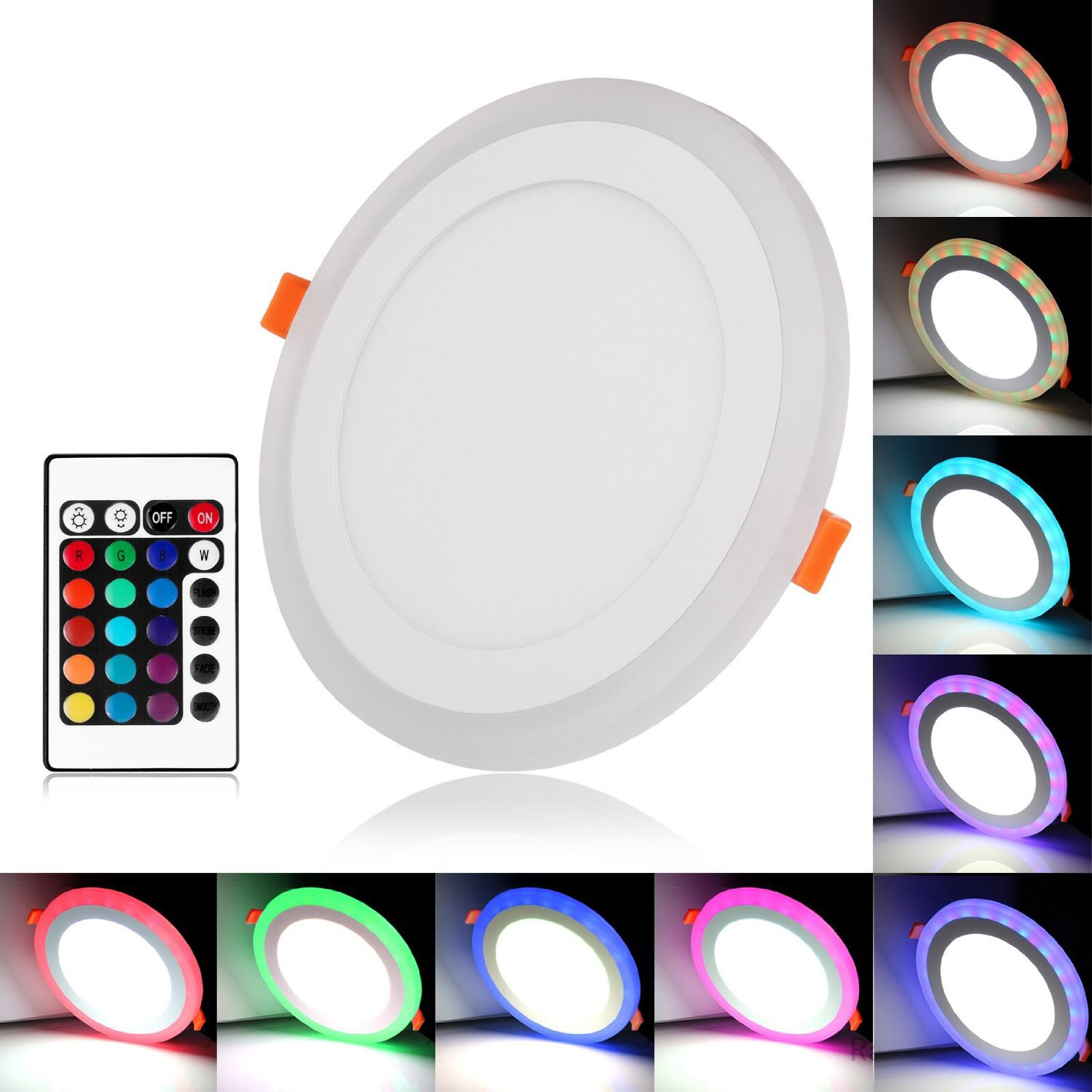 JZLiner LED Panel Lighting Dimmable 12W+ 6W 960LM RGB Color LED Panel Light, Cut Hole: 6.1-Inch Day White LED Recessed Lighting With LED Driver