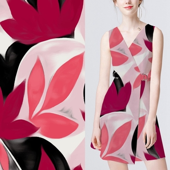 Digital printing polyester maple leaves printing dress fabric