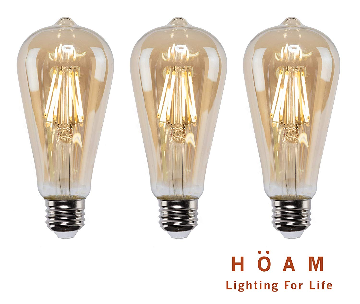 3 Pack Edison Bulbs from HOAM Lighting, Dimmable LED Filament, Antique Style, 4W LED 40W Incandescent Equivalent 4000K Warm Amber Color Temperature, ST18 ST64, E26 E27 Screw Cap, 120V